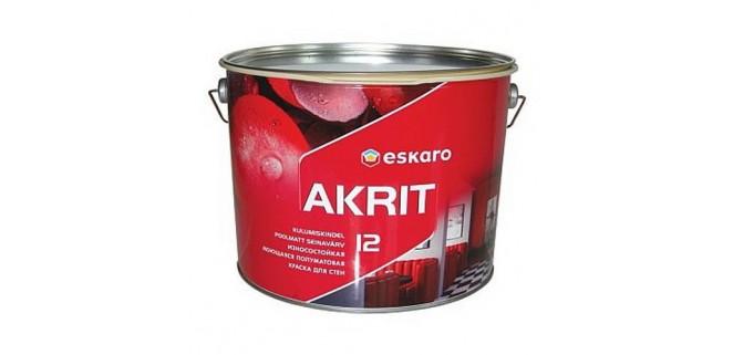 Eskaro Akrit 12 моющаяся износостойкая полуматовая краска для стен 0,95 л