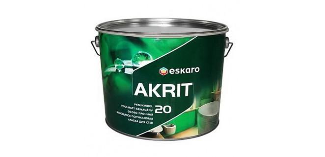 Eskaro Akrit 20 особо прочная моющаяся полуматовая краска для стен 0,95 л