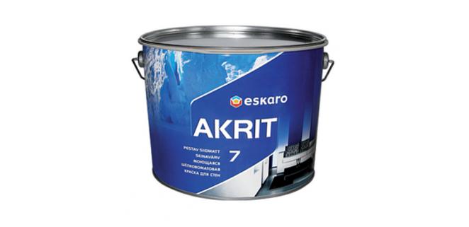 Eskaro Akrit 7 моющаяся шелково-матовая краска для стен 9,5 л