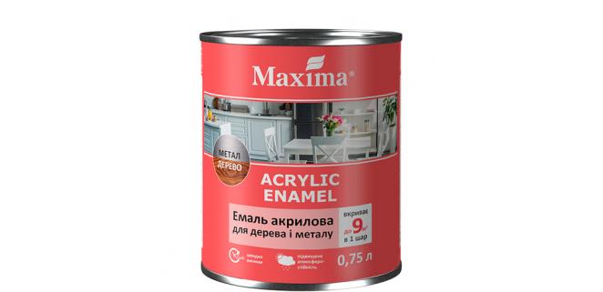 Эмаль акриловая для дерева и металла Maxima 2,3 л белый глянец