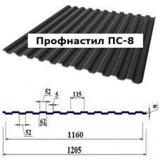 Профнастил ПС-8 цинк 0,4 мм (профнастил стеновой)