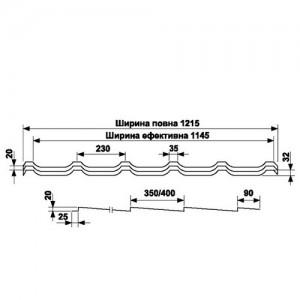 Металлочерепица классическая Pruszynski RIF 400 PEMA 0,45 мм JSW
