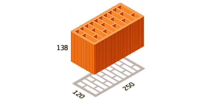 Керамоблок 2,12 НФ 250х120х138 Керамейя (поштучно)