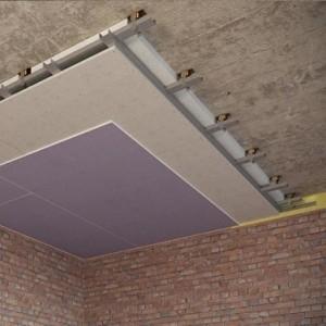 Каркасный звукоизоляционный потолок 115 мм на подвесах Шуманет-коннект ПП