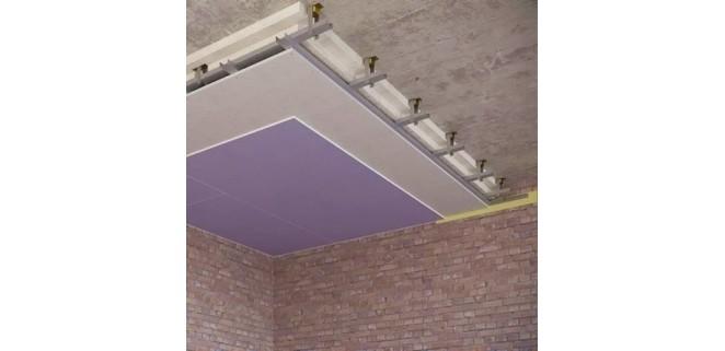 Каркасный звукоизоляционный потолок 130 мм на подвесах Шуманет-коннект КС