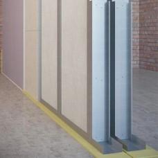 Звукоизоляционная каркасная перегородка на двойном каркасе 2х100 мм