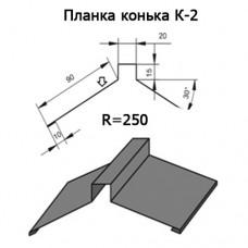 Планка конька К-2 R 250 длина 2м ЦИНК