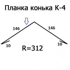Планка конька К-4 R 312 длина 2м ЦИНК