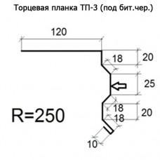 Торцевая планка ТП-3 R 250 (под бит.чер.) длина 2м ЦИНК
