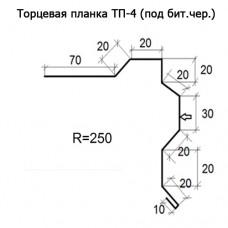 Торцевая планка ТП-4 R 250 (под бит.чер.) длина 2м ЦИНК