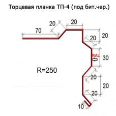 Торцевая планка ТП-4 R 250 (под бит.чер.) длина 2м МАТПОЛИЭСТЕР