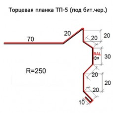 Торцевая планка ТП-5 R 250 (под бит.чер.) длина 2м МАТПОЛИЭСТЕР