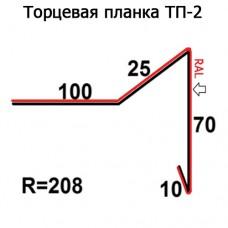 Торцевая планка ТП-2 R 208 длина 2м МАТПОЛИЭСТЕР