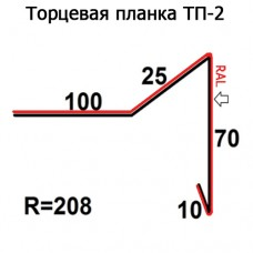 Торцевая планка ТП-2 R 208 длина 2м ПОЛИЭСТЕР