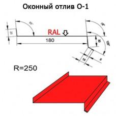 Оконный отлив О-1 R 250 длина 2м МАТПОЛИЭСТЕР