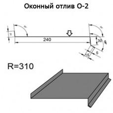 Оконный отлив О-2 R 310 длина 2м ЦИНК