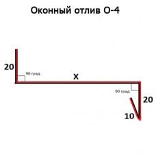 Оконный отлив О-4 длина 2м ПОЛИЭСТЕР (цена рассчитывается индивидуально)