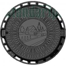 Люк садовый пластиковый черный «Д» арт. 35188-80Д